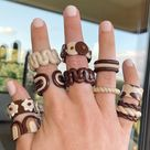 Clay Ring Set Chunky Clay Ring y2k Inspired Clay Ring   Etsy