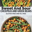 Sweet And Sour Chickpeas And Green Beans | Earth of Maria