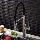 Contemporary Single Hole 1-Handle Kitchen Faucet Pull-Out Spout in Brushed Nickel