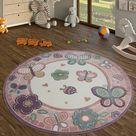 Runder Kinderteppich In Übergrößen Schmetterlinge Marienkäfer Pastell Creme Rosa, GrößeØ 200 cm Rund