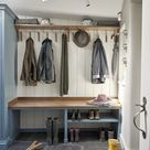 Blue and walnut boot room