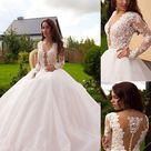 2022 New Arrival Wedding Dresses Tulle Long Sleeves Open Front See Through Back Ball Gown   Ivory / US2