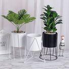 USD$18 Creative INS Iron Art Flower Pot  Display Stand Holder Metal Plant Vase With Shelf Rack Home Garden Decor