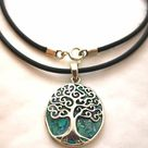 Celtic Tree of Life Necklace Green 925 Silver, Israeli Jewelry for Woman, Birthday Grandma, Mothers Necklace  Amulet Talisman Celtic Tree