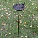 USD$13.98 European Vintage Home Garden Decor Cast Iron Bird On Seashell Shaped Bird Feeder with Long Plug Heavy Sturdy Metal Birdbath
