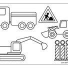 Ausmalbild Baustellenfahrzeuge