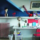 Cool bedroom for older child or teenager.  Wall: Stiffkey Blue, Cook's Blue, Blackened & Blazer Modern Emulsion.
