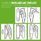 4 Styles Paper Airplanes - Coloring Pages Color-in Paper Craft Template - paper toy craft - Instant Download - Kids Craft Template