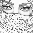 Printable coloring page girl portrait and clothes colouring sheet fashion pdf adult anti-stress relaxing zentangle line art