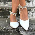 Ivory Bridal Crochet Pointy toe shoes,  block heel, Wedding white block heels, Beach Wedding Shoe,Bridal Sandals, Greek  Leather Sandals
