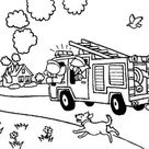 Fireman Try To Extinguish Fire On Burning Building Coloring Page