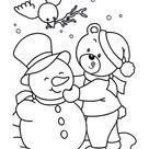A Cute Little Bear Making Snowman On Winter Coloring Page