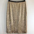 TFNC London Matte Gold Sequin Lined Pencil Skirt S