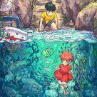 I drew and illustration on Ponyo Sosuke and a lot of Devonian fish