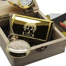 Family Name Coat of Arms 24k Gold Plated Pocket Watch Business Credit Card Case Luxury Gift box Certificate Custom Engraved Surname Crest