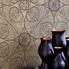 Orientalische Tapete Yasmin in Gold mit indischen Ornamenten