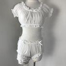sheer stars ultra thin gauze ruffles off shoulder sleeve pajamas set - White / One Size