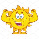 Happy Sun Showing Muscle Arms MascotCharacterCartoonHappy