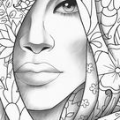 Printable coloring page girl portrait and clothes colouring sheet floral pdf adult anti stress relax