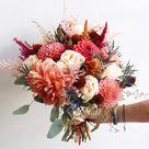 Coral Autumn Dahlia Bridal Bouquet