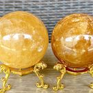 3.75cm-9cm Quality Natural Citrine Quartz Crystal Ball Yellow Crystal Ball Geode Stone on Stand, Healing Stone