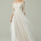 A Line Sweep Brush Train Lace and Tulle Wedding Dress CW2186