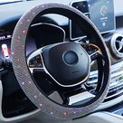 Car Fuzzy Steering Wheel Cover for Women Girls … - Large size[15 1/2''-16''] / Colorful