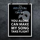 Andrew Lloyd Webber Phantom of the Opera Poster Think of Me Lyrics Print Quote Art Print Large Music Poster Musical Broadway