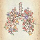 Lunge mit Blumen – Medizinische Anatomie Bilder
