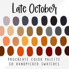 October Fall Procreate Color Palette, iPad Procreate Tools Tool, Color Swatches