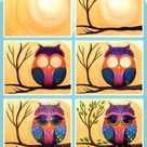 How to paint a colorful owl step by step