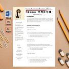 Feminine, Modern Resume Template,4 page cv resume, A4 cv, US Letter cv, Cover Letter, Reference, Word