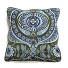 Heals Jyoti Bhomik Pageant, gray, blue, olive green vintage 60s barkcloth cushion cover, throw pillow cover, homeware decor.