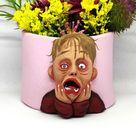 Distressed kid pot - Quirky small plant pot, weird pottery, weird gift, unusual gift, art sculpture, weird pot, cute face pot, fan art