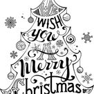 We Wish You a Merry Christmas. Hand-written text, holly berry,...