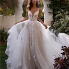 Charming V Neck Tulle Lace Wedding Dresses Bride Dresses