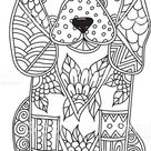 Dog Adult antistress or children coloring page. Hand drawn animal...