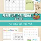 Perpetual Calendar for Kids in SPANISH, Circle Time,Classroom Calendar,Preschool, Kinder,First Grade