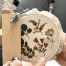 Botanical embroidery patterns and kits
