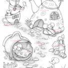 Coloring Page Digital stamp Digi Cup Teapot Mice Fun | Etsy