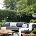Lounge Set zertifiziertes Holz hellbraun Auflagen grau MYKONOS