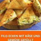 Filo-Ecken mit Käse und Gemüse gefüllt