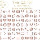 Rose Gold Social Media Icons Rose Gold Blush Social Buttons | Etsy