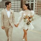 The Bride Wore a Mini Wedding Dress with Sleeves for this Romantic City Elopement