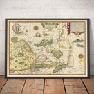 Old Map of Southeast Asia, 1596 - China, Korea, Japan, Philippines, Singapore, Malaysia, Indonesia - Framed or Unframed Gift