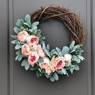 Lamb's Ear and Rose Asymmetrical Spring Wreath | DIY Faux Floral Wreath