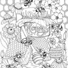 Honey  Printable Adult Coloring Page from Favoreads Coloring | Etsy