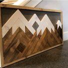Wood Mountain Wall Art Nursery Decor Custom Snow Capped   Etsy