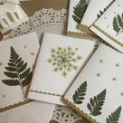 Ferns and Queen Anne's Lace, Christmas Cards, Holiday Greeting Cards, One Of A Kind Hand Made Pressed Flowers Merry Christmas Cards