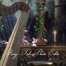 The Harpist's Balcony Digital Backdrop, Fairy Tale. Princess, Digital Background,
